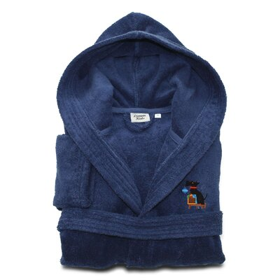 Christmas Dog Embroidered 100% Cotton Hooded Unisex Terry Bathrobe Size: Large, Color: Midnight Blue