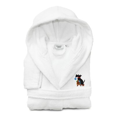 Christmas Dog Embroidered 100% Cotton Hooded Unisex Terry Bathrobe Size: Small, Color: White