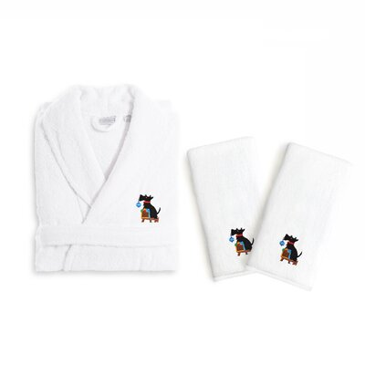 Christmas Dog 3 Piece Embroidered Luxury 100% Terry Bathrobe Set Size: Small/Medium