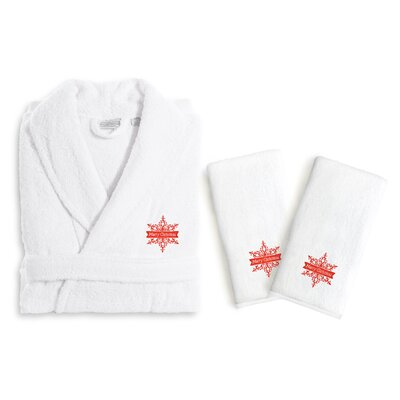 Merry Christmas 3 Piece Embroidered Luxury 100% Cotton Terry Bathrobe Set Size: Large/XLarge