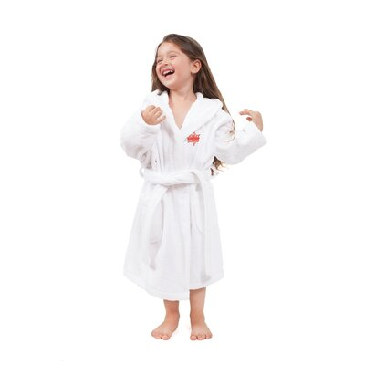 Ashtown Embroidered 100% Turkish Cotton Kids Hooded Terry Bathrobe Size: Large, Color: White