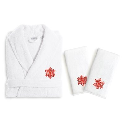 Snow Flake 3 Piece Embroidered Luxury 100% Cotton Terry Bathrobe Set Size: Small/Medium, Color: Red