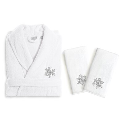 Snow Flake 3 Piece Embroidered Luxury 100% Cotton Terry Bathrobe Set Size: Small/Medium, Color: Gray