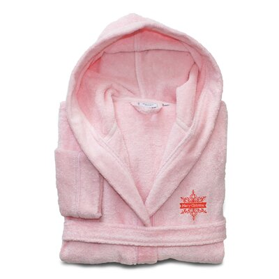 Ashtown Embroidered 100% Turkish Cotton Kids Hooded Terry Bathrobe Size: Large, Color: Pretty Pink