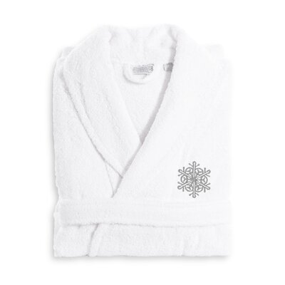 Snow Flake Embroidered Luxury 100% Cotton Terry Bathrobe Size: Small/Medium, Color: Gray