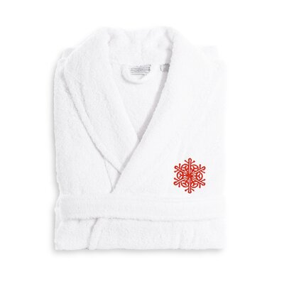 Snow Flake Embroidered Luxury 100% Cotton Terry Bathrobe Color: Red, Size: Large/XLarge