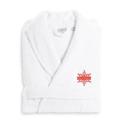 Merry Christmas Embroidered Luxury 100% Cotton Terry Bathrobe Size: Small/Medium