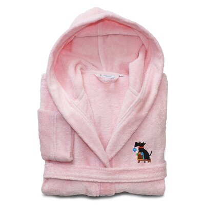 Christmas Dog Embroidered 100% Cotton Hooded Terry Bathrobe Size: Small