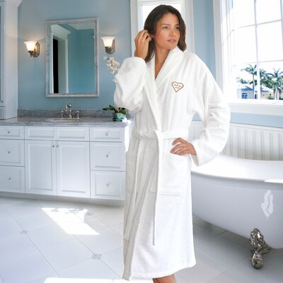 I Love You Mom Embroidered Terry Cloth Bathrobe Color: White/Melange, Size: XX-Large