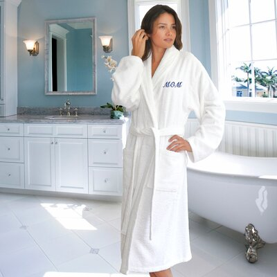 Terry Cloth Bathrobe for Mom Size: Small/Medium, Color: White/Navy