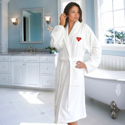 I Love You Mom Embroidered Terry Cloth Bathrobe Size: Small/ Medium