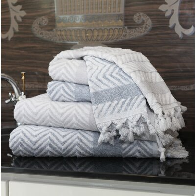 Assos 6 Piece Towel Set Color: Dove Gray/Dusty Blue