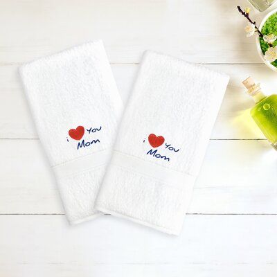 I Love You Mom Embroidered Hand Towel