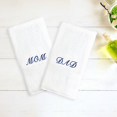 Mom & Dad Embroidered Hand Towel Color: White/Navy