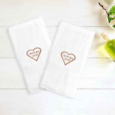Mom & Dad Embroidered Hand Towel Color: White/Melange