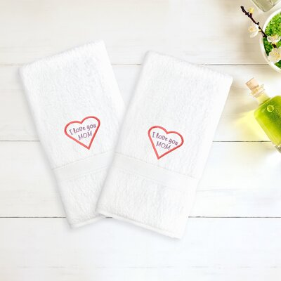 Mom & Dad Embroidered Hand Towel Color: White/Pink