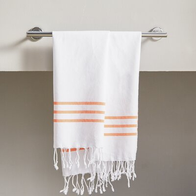 Polizzi 2 Piece Towel Set Color: White/Dark Orange