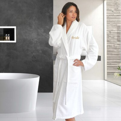 Travis Embroidery Bride Bathrobe Size: Double Extra Large, Color: Gold