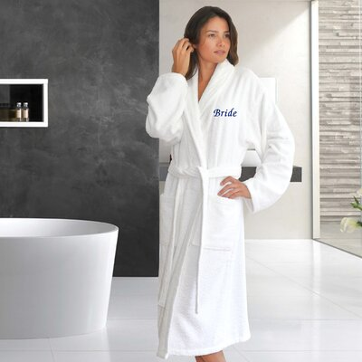 Travis Embroidery Bride Bathrobe Color: Navy, Size: Double Extra Large