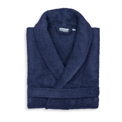 Roman 100% Cotton Bathrobe Color: Navy, Size: Large