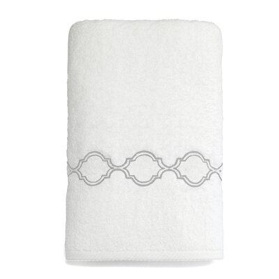 Trellis Embroidered Soft Twist Bath Towel Color: Silver