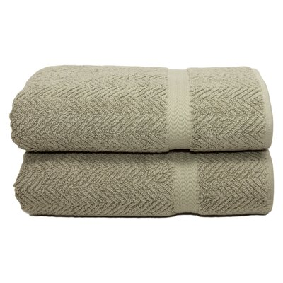 Herringbone Weave 100% Turkish Cotton Bath Towel Color: Light Olive