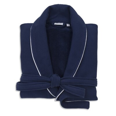 Gautier 100% Turkish Cotton Waffle Terry Bathrobe Color: Navy, Size: Small