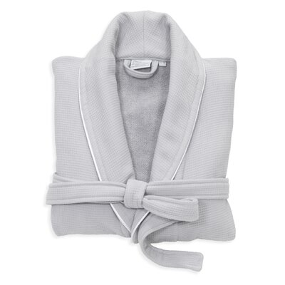 Gautier 100% Turkish Cotton Waffle Terry Bathrobe Color: Light Gray, Size: Small