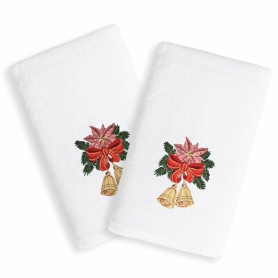 Christmas Bell Embroidered Luxury 100% Turkish Cotton Hand Towel