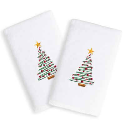 Christmas Tree Embroidered Luxury 100% Turkish Cotton Hand Towel
