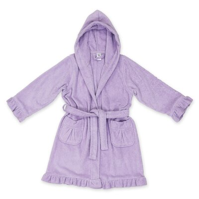 Crain 100% Turkish Cotton Kids Hooded Bathrobe Color: Purple, Size: Medium