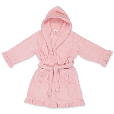 Crain 100% Turkish Cotton Kids Hooded Bathrobe Color: Pretty Pink, Size: Medium