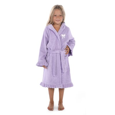 Crain 100% Turkish Cotton Hooded Bathrobe Size: Medium, Color: Purple/White
