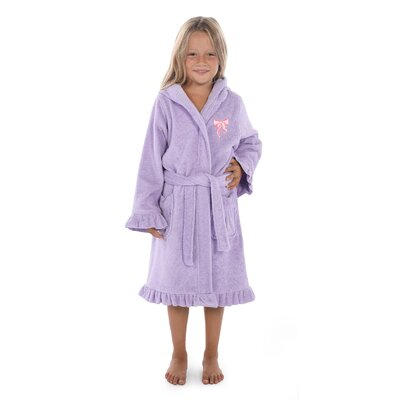 Crain 100% Turkish Cotton Hooded Bathrobe Size: Small, Color: Purple/Pink