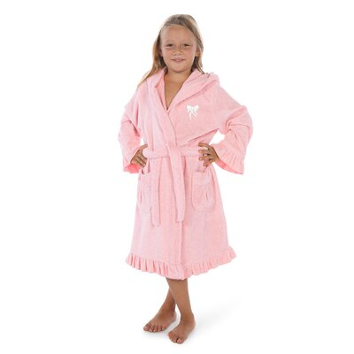 Crain 100% Turkish Cotton Hooded Bathrobe Size: Medium, Color: Pretty Pink/White