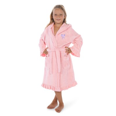 Crain 100% Turkish Cotton Hooded Bathrobe Size: Medium, Color: Pretty Pink/Purple