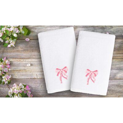 Libourne Kids Embroidered Luxury Bow Hand Towel Color: Pink