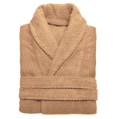 Huguetta Weave 100% Turkish Cotton Unisex Bathrobe Size: Large / Extra Large, Color: Warm Sand