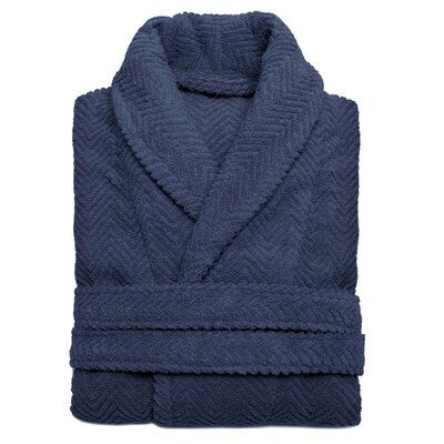 Huguetta Weave 100% Turkish Cotton Unisex Bathrobe Size: Small / Medium, Color: Midnight Blue
