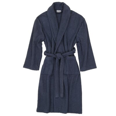 Herringbone Bath Robe Size: Small / Medium, Color: Midnight Blue