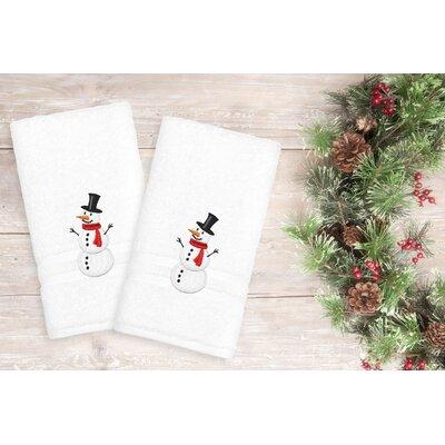 Snowman Hand Towel Color: White