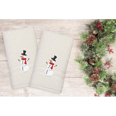 Snowman Hand Towel Color: Cream