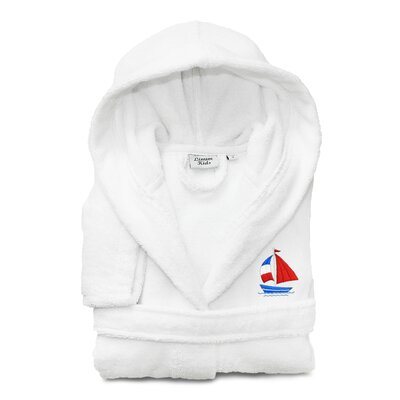 Arenzville Kids 100% Cotton Hooded Boat Terry Bathrobe Size: Small, Color: White