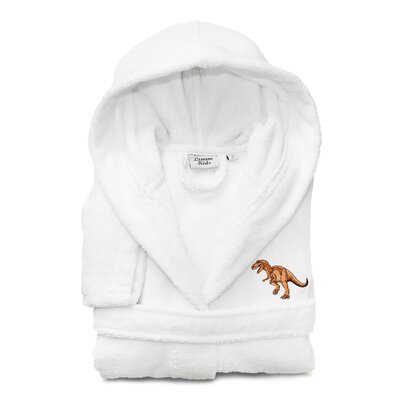Argo Kids 100% Cotton Hooded Dino Terry Bathrobe Size: Medium, Color: White
