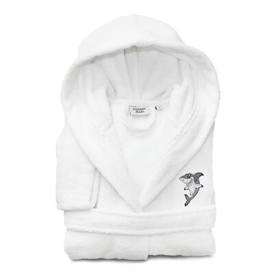 Ariadne Kids 100% Cotton Hooded Shark-95 Terry Bathrobe Size: Medium, Color: White