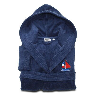 Arenzville Kids 100% Cotton Hooded Boat Terry Bathrobe Size: Large, Color: Midnight Blue