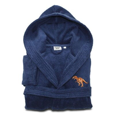 Argo Kids 100% Cotton Hooded Dino Terry Bathrobe Size: Medium, Color: Midnight Blue