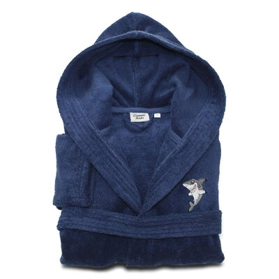 Ariadne Kids 100% Cotton Hooded Shark-95 Terry Bathrobe Size: Large, Color: Midnight Blue