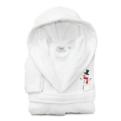 Anselm Kids 100% Cotton Hooded Snowman Terry Bathrobe Size: Large, Color: White