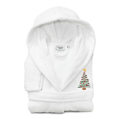 Anselm Kids 100% Cotton Hooded Christmas Tree Terry Bathrobe Size: Large, Color: White